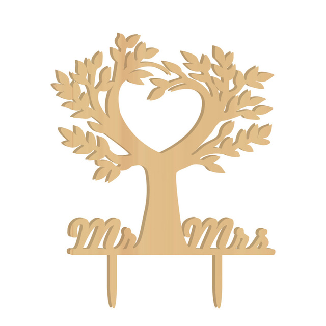 Cake Topper Wood Bird Tree Wedding Cake Decorations (Wood colour)-in ...
