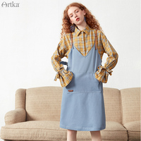 ARTKA 2019 Spring Summer Casual Women Dress Leather Spaghetti Strap Denim Dresses Straight Dress For Women LA10790C