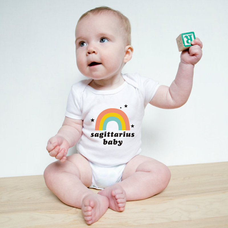 d6c4fcbe409 HY0024 New Fashion Sagittarius Baby Onesie Rainbow Short Sleeve Unisex  Bodysuits-in Bodysuits from Mother   Kids on Aliexpress.com