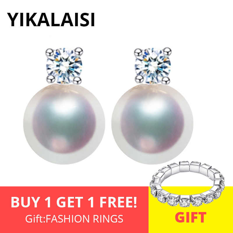 YIKALAISI 925 Sterling Silver Natural Freshwater Pearl Fashion Earrings Jewelry For Women 8-9mm Pearl AAA Zircon 4 Colour
