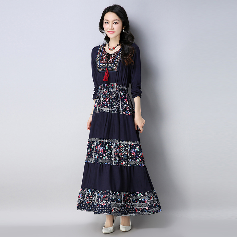 Womens Vintage Oversized Cotton Linen Print Jumper Dress 2018 Spring New  Voguees dresses Long Sleeve Tunic Dress-in Dresses from Women s Clothing on  ... 0a9595652503