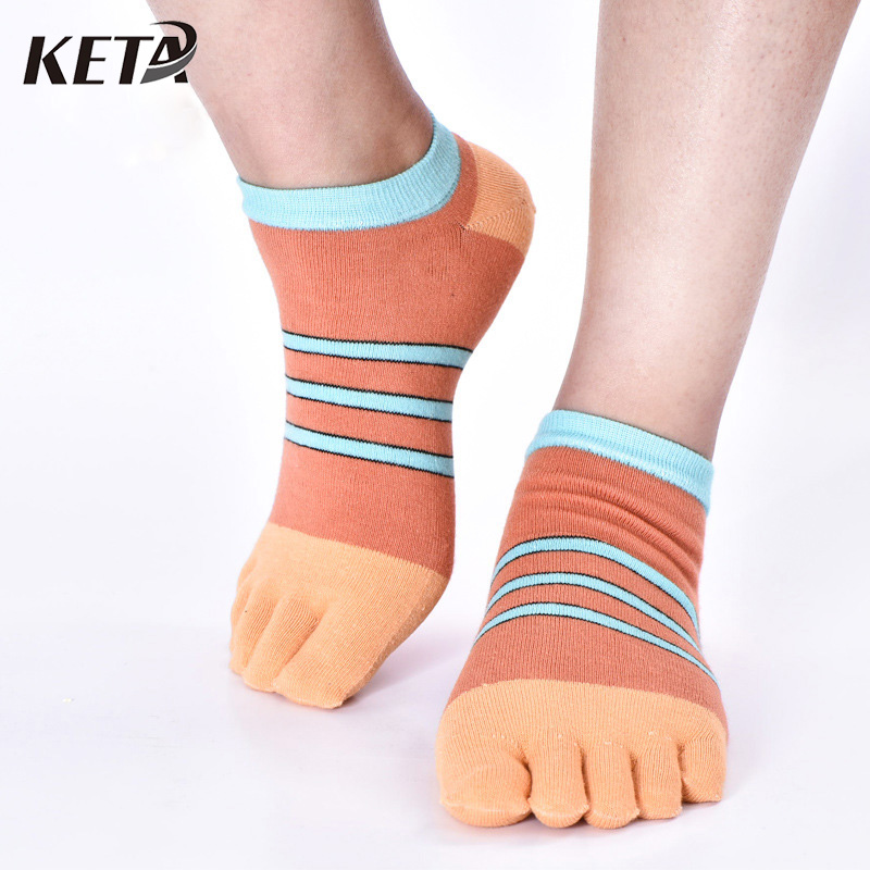 5Pair Fashion Casual Men Toe Socks Business Colorful Stripes Breathable Sox Cotton Soft Five Finger Toes Dress Ankle Socks