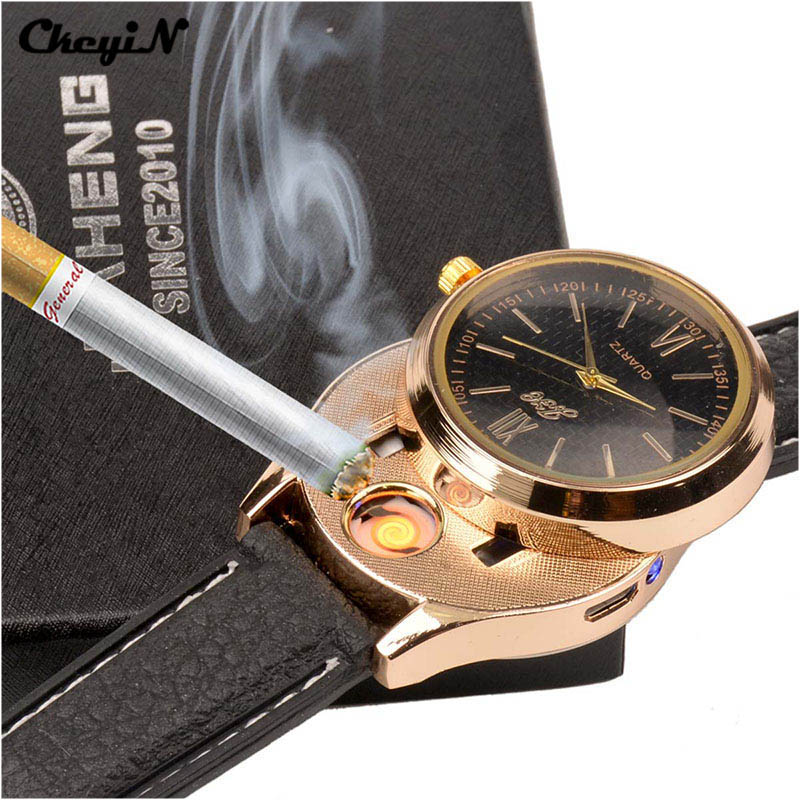 89afb69967d USB recarregável Mais Leve Relógios dos homens relógio de Pulso de Quartzo  dos homens À Prova de Vento Sem Chama Cigarro Eletrônico Isqueiro relogio  49 em ...