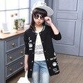Crianças casaco manteau fille kinderkleding meisjes Outono meninas roupas de algodão alongar impressão uniforme de beisebol moda casual