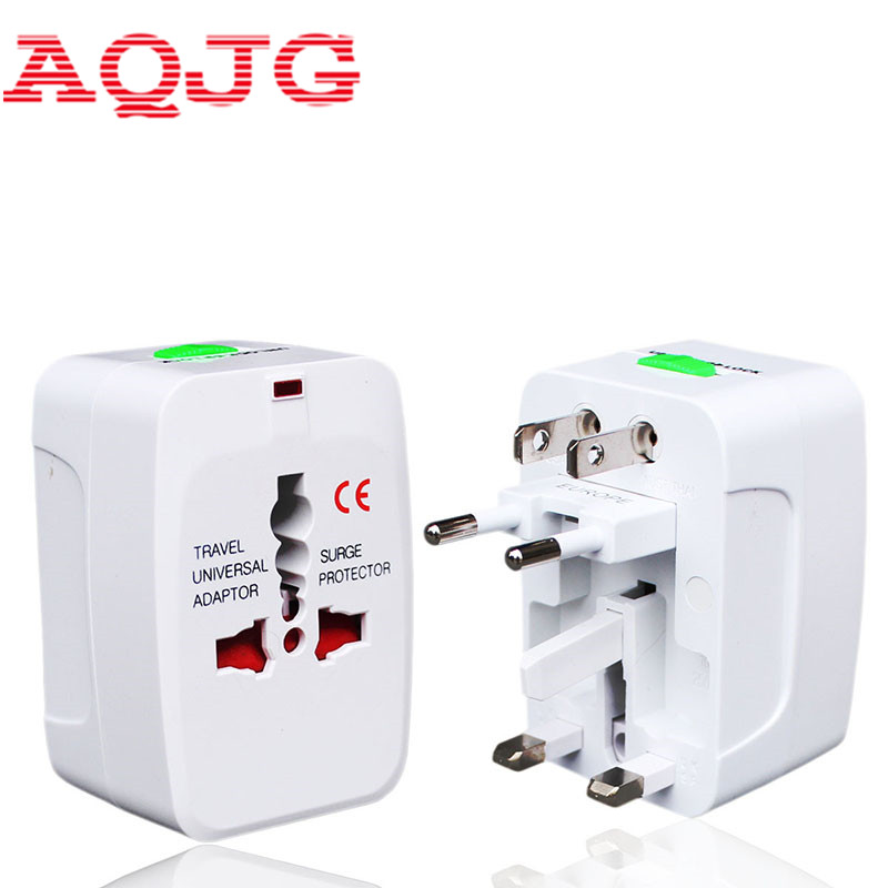 All in One Universal International Plug Adapter 2 USB Port World Travel AC Power Charger Adaptor with AU US UK EU converter Plug universal 2 port usb eu plug power adapter w blue indicator white