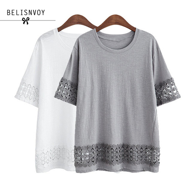 2018 New Summer Women T-Shirt O-neck Casual Loose Lace Crochet Embroidery Hollow Out Tee Shirt Blusas Big Size