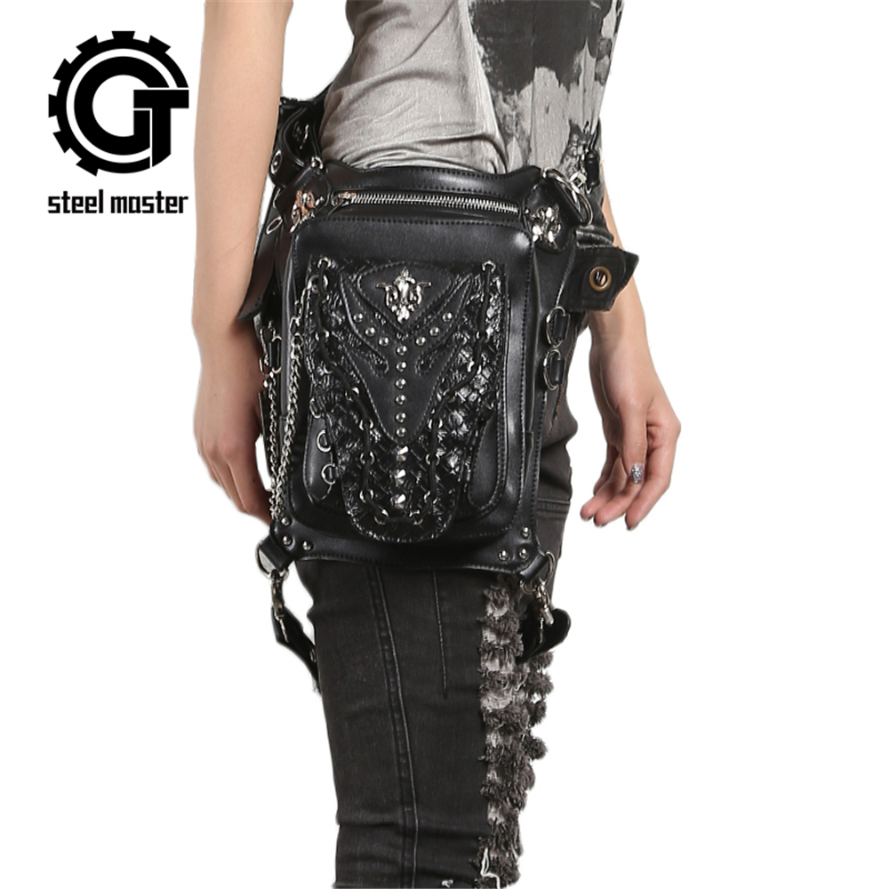Steampunk Gothic Waist Bag Retro Rock Shoulder Bag for Women Men Vintage Leather Leg Bag Hip