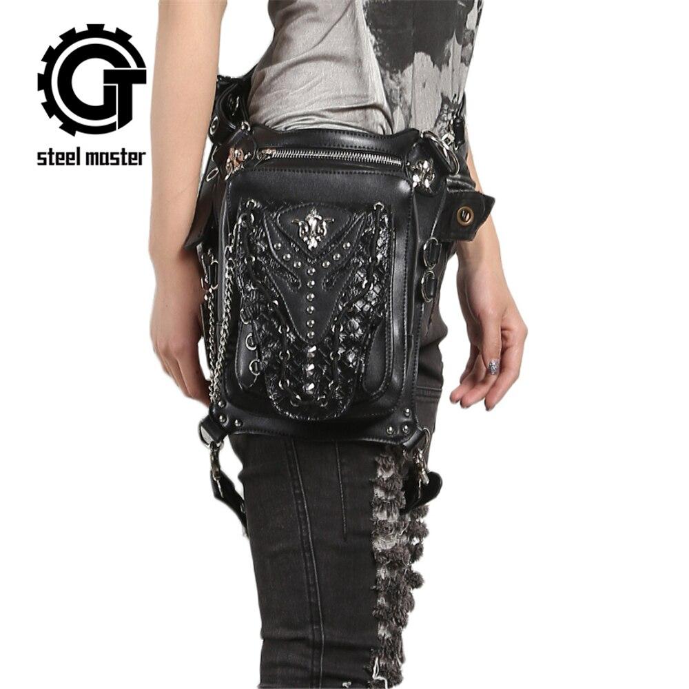 Steampunk 고딕 허리 가방 레트로 락 숄더 가방 여성 남성 빈티지 가죽 다리 가방 엉덩이 홀스터 허리 가방 2019 새로운 도착-에서슬리밍 팩부터 수화물 & 가방 의  그룹 1