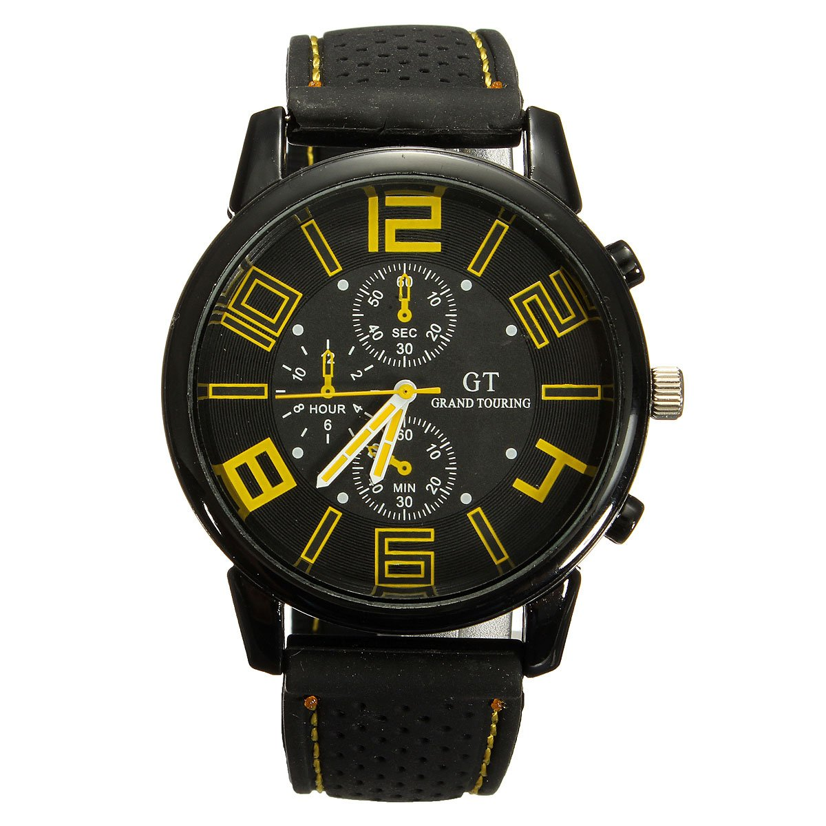 Grand Touring Bracelet Watch Man Quartz Analog Silicone Quartz Wrist Watch Big Dial Yellow and Black super speed v6 v0153 by check dial quartz wrist watch for men black yellow while 1 x lr626