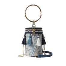 women small straw bucket bag women handbags purse ring Tassel Chains messenger bag  crossbody bags for women tote clutch