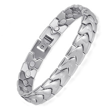 Stainless Steel Magnet Bracelet Magnetic Element Health Mens Original