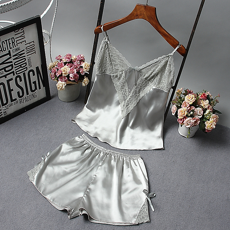 Sexy Women Lace Silk Pajamas Sets free shipping 2017 new design short pants pyjama sets V-neck suspenders satin pijamas sets
