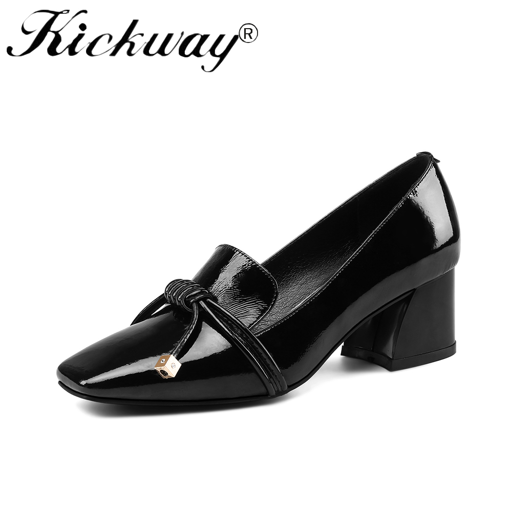 Kickway 2018 Women Black Fashion Shoes Female Genuine Cow Patent Leather Shoes High Heel Pumps Bow Brand New Shoes Big Size34-43