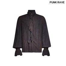 Steampunk Retro Do Old Stand-up Collar Shirt Gothic Vintage Painting Breathable Linen Tie Men Shirts Blouses PUNK RAVE Y-714(China)