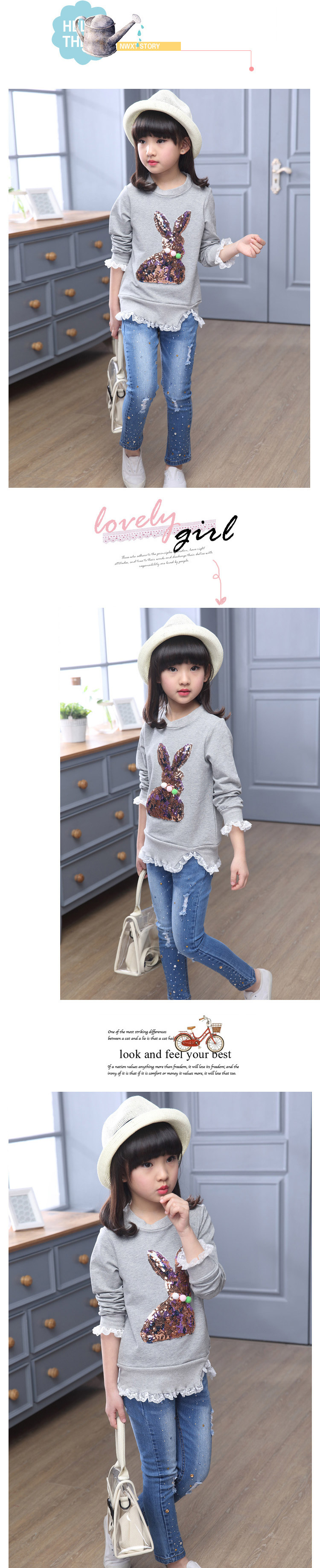 f3b49b04a Baby Girl Long sleeve T-shirt child sequined rabbit tops fall 2017 Fashion  cotton Elastic Kids Girls Clothes 4 8 10 12 years old 7 9 10 11 A A1 A2 A3  A4 B