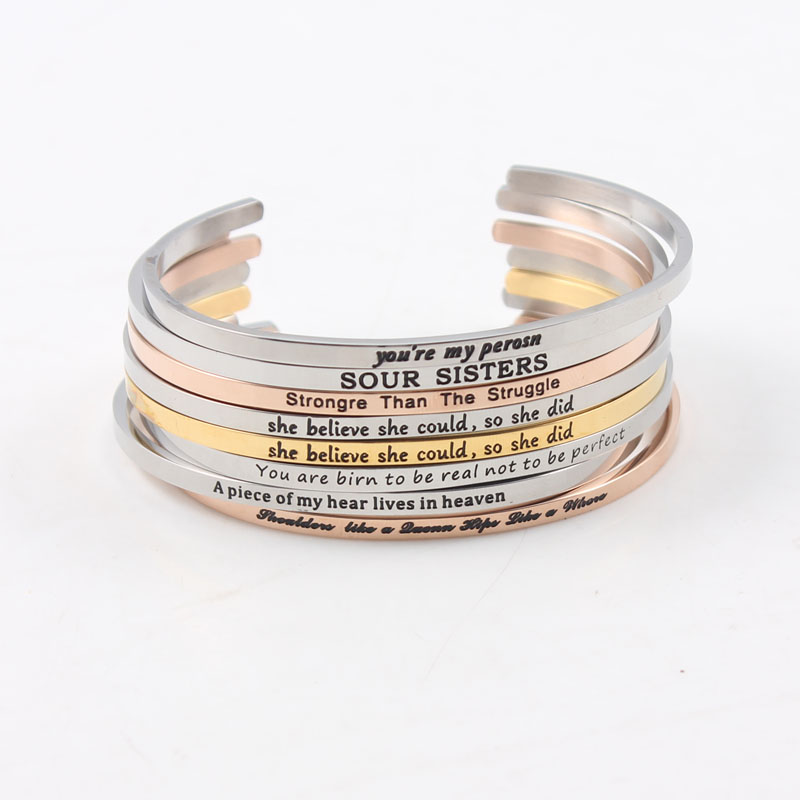 Stainless Steel Bangle Engraved Inspirational Wrong Letter Mantra Bracelet & Bangle. This is a beautiful mistake bangle love it? bangle