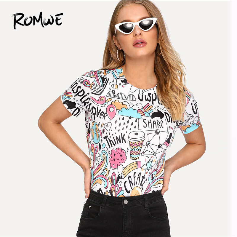 ROMWE Letter And Cartoon Print Tee 2019 Summer Short Sleeve Female Tops Fabulous Korean Clothes Stretchy Women T Shirt