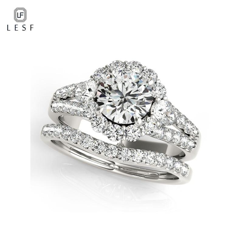 купить LESF Rings Sets 925 Sterling Silver Wedding ring Women Fashion Wedding Jewelry For Girls Engagement Private custom недорого