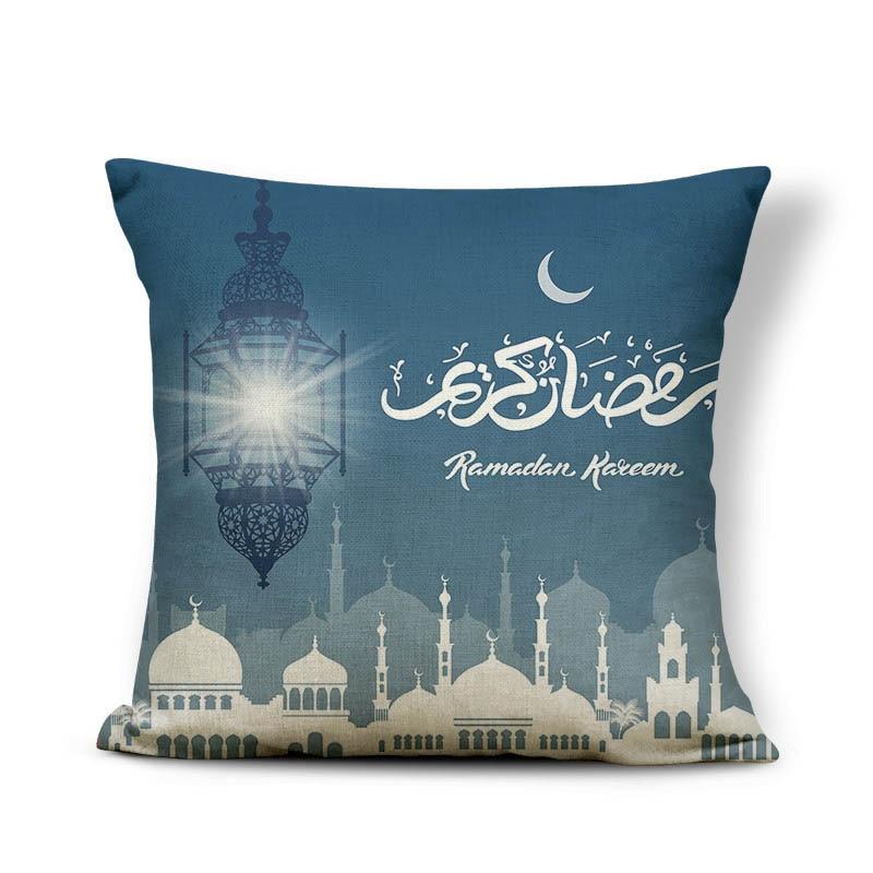 2019 45x45cm Muslim Festival Ramadan Kareem Blue Theme Islam Culture Night Sky Pillow Case Cover Sofa Waist Cushion Cover NCD