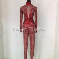 Модные, пикантные Красные кристаллы боди Ночной клуб шоу RomperStage Одежда для танцев Стразы комбинезон костюм певица одежда