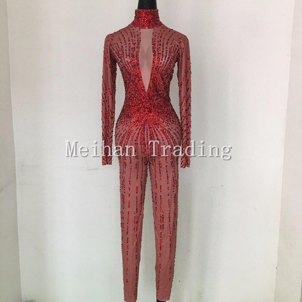 Mody Sexy czerwone kryształy body klub nocny pokaż RomperStage taniec nosić dżetów kombinezon kostium kobiet piosenkarka nosić w Kombinezony od Odzież damska na AliExpress - 11.11_Double 11Singles' Day 1