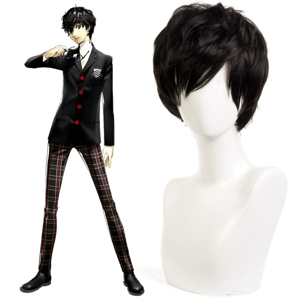 Game High quality P5 Persona 5 Kurusu Akira Joker Cosplay Wig Anti-wrinkle Curly Hair Cosplay Hair image