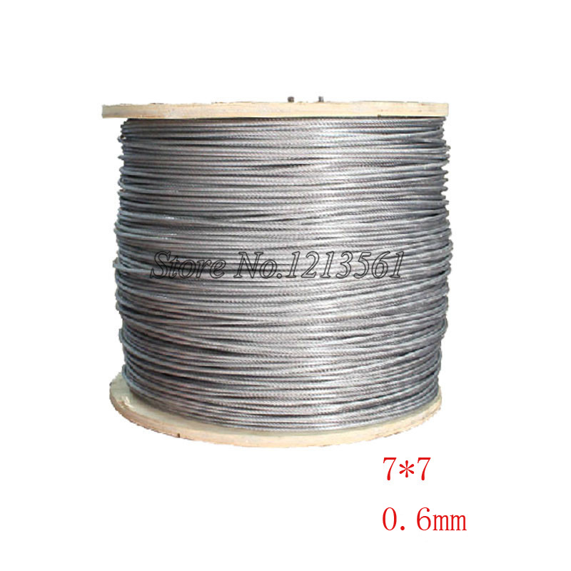 100% QualitäT 1000 Meter/los 0,6mm Rolle Hochfestem Edelstahl Drahtseil 7x7 Struktur 0,6 Mm Durchmesser Heimwerker