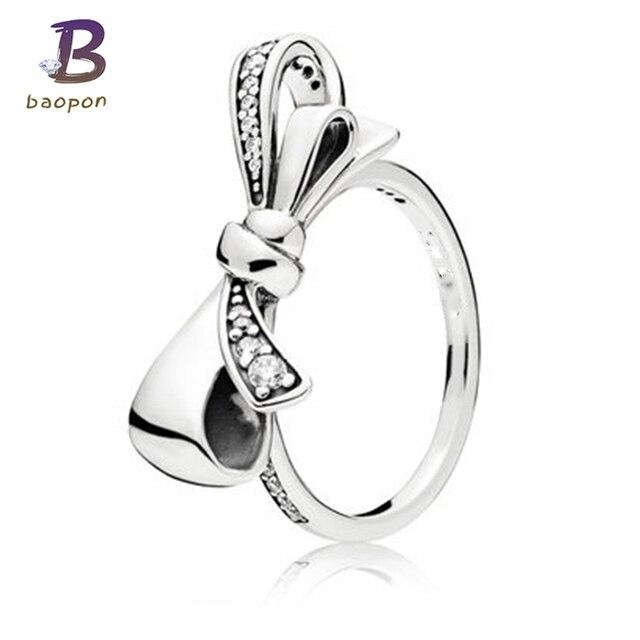 más fotos fd12d 7a7a6 BAOPON Dropshipping. exclusivo. 2018 de moda arco nudo Pandora anillo suave  Simple boda anillos de plata para hombre o mujer regalo en Anillos de ...