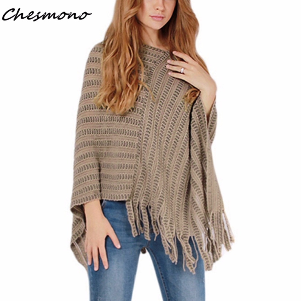 Women Batwing Cape Poncho Knit Top Ladies Pullover Sweater Coat Outwear Jacket Irregularity Cloak Winter Autumn Tassels Jumper