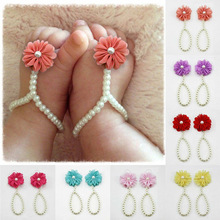 Summer Style Infant Kids Pearl Shoes Sandals Baby Girl Toe Rings Barefoot Anklets Flower Chiffon Accessories 1 Pair