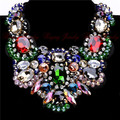 Регулируемая Большой Размер Ювелирные Изделия Черная Лента Цепь 4 Многоцветный Хрусталя Колье Заявление Нагрудник Ожерелье