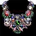 Adjustable Big Size Fashion Jewelry Black Ribbon Chain 4 Multi-Color Crystal Glass Choker Statement Bib Necklace