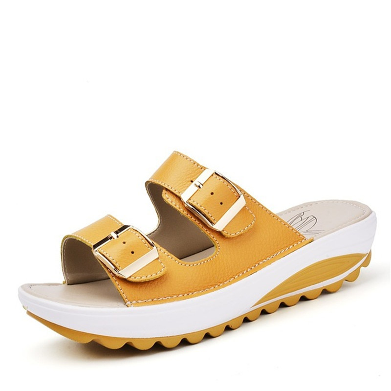 Image 2 - BEYARNE  Womens Sandals Slippers Buckle Beach Summer Wedges Platform Shoes Casual Candy Color Slideswomen sandals slipperswomen sandalssummer wedges -
