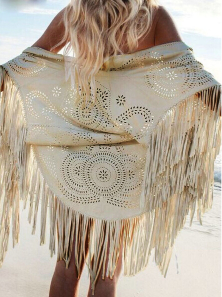 Women Beige Faux Suede Leather Hollow Out Summer Beach Cover Up Kimono Long Fringes Tassels Thin Coat Cardigan