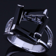 Absorbing Rectangle Black Cubic Zirconia 925 Sterling Silver Ring For Women V0614