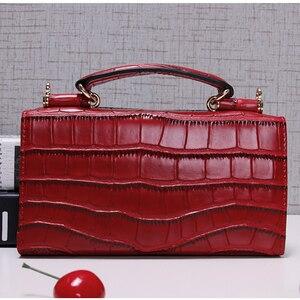 Image 4 - Women Cowhide Leather Clutch Bags Green Crocodile Pattern Handbags Women Shoulder Crossbody Bag Bolsas Wristlet Party Wallets