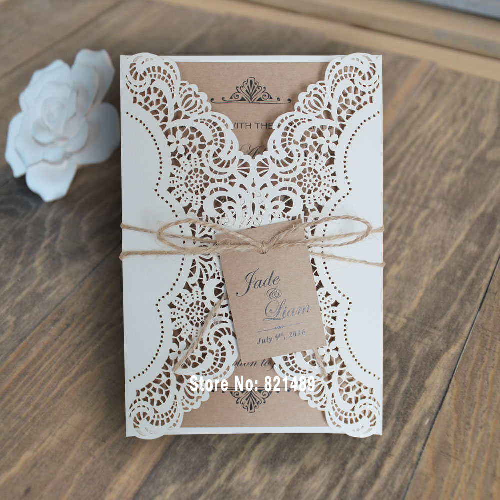 Aliexpresscom buy rustic wedding invitation white for Buy wedding invitations in store
