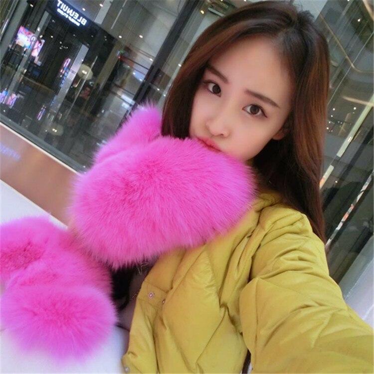 Gants de fourrure de renard de fourrure gants en cuir gants femme hiver gants chauds