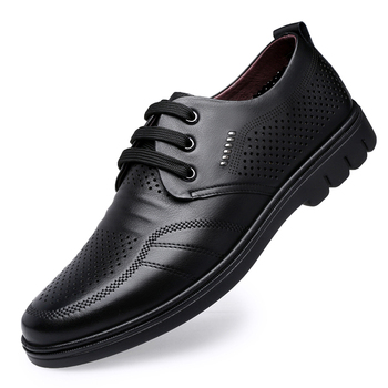 summer Men shoes Fashion Leather Lace Up  Toe Hollow Out Sandals Male British England Style Hole Breathable Shoes