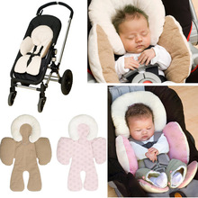 Baby Strollers Head Body Support Pad Mat Dual Sided Use Safety Cushion Rattle Baby Car Seat Stroller Protection Accessory