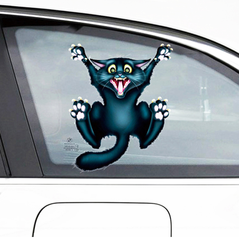 OTOKIT Cute Car Styling Funny Car Sticker 3D Crazy Cat Car Window Head Tail Decal Cool Wrap Auto Decoration Automobile Sticker