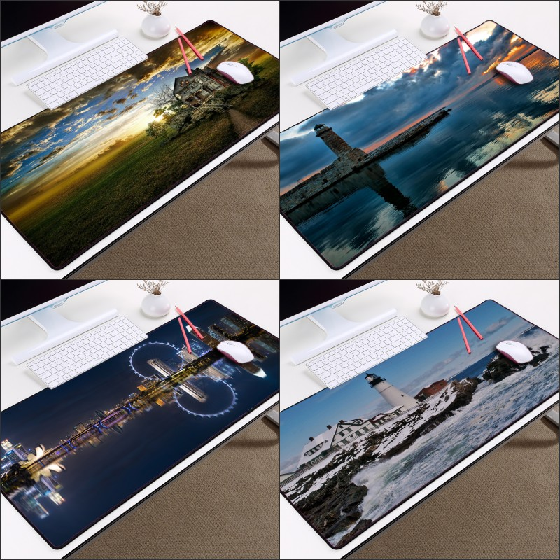 Mairuige Lighthouse Night View and City Night Scene Mousepad Gaming Mice Mat Pc Computer Laptop Keyboard Mouse Pad XL Size