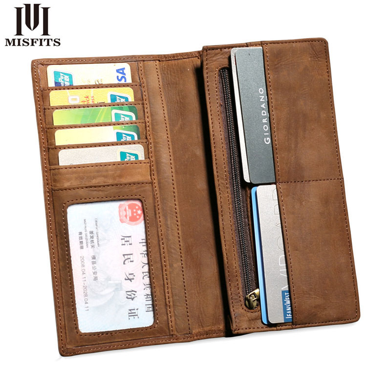 Brand Vintage Genuine Leather men Wallet High Large Capacity long card purse Crazy Horse Genuine Leather Man Wallet padieoe brand 2017 new men wallet genuine leather cowhide purse credit card wallet large capacity men s wallet free shipping