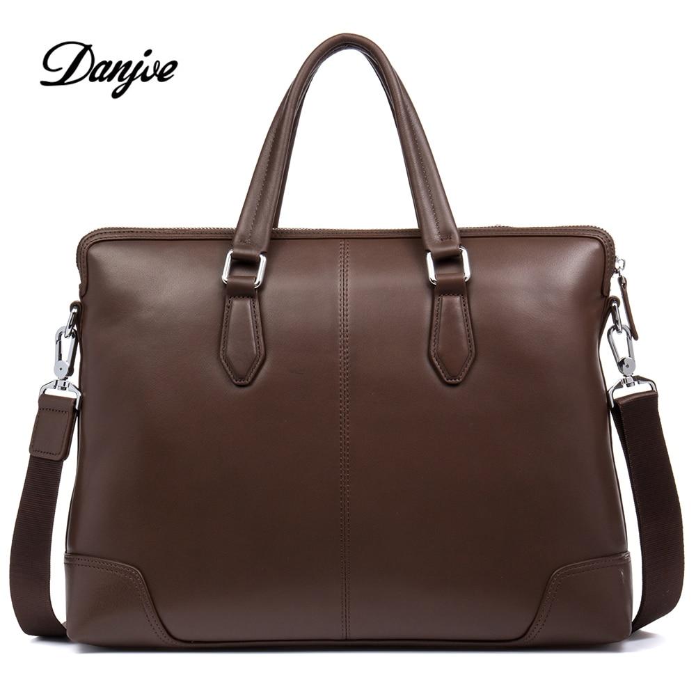 DANJUE Men Bag Genuine Leather Briefcase Male Business Men Handbags Real Cowhide Men Laptop Messenger Bag For Man Classic Style
