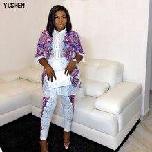 Африканские платья для женщин комплект из 2 предметов Дашики печати горячей бурения африканская одежда Базен Broder Riche мода халат Африканский Femme
