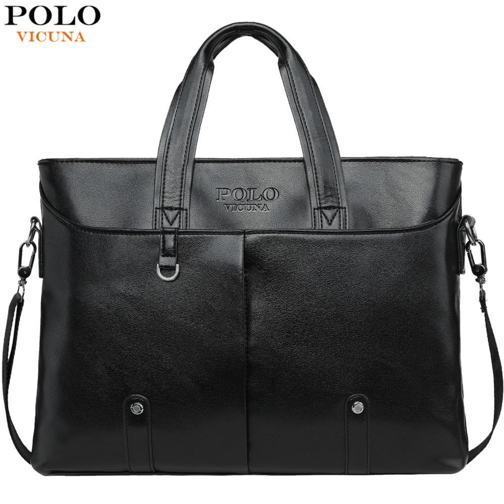VICUNA POLO Casual Business Leather Briefcase For Men Classic Design Men's Laptop Handbag Side Crossbody Shoulder Bags