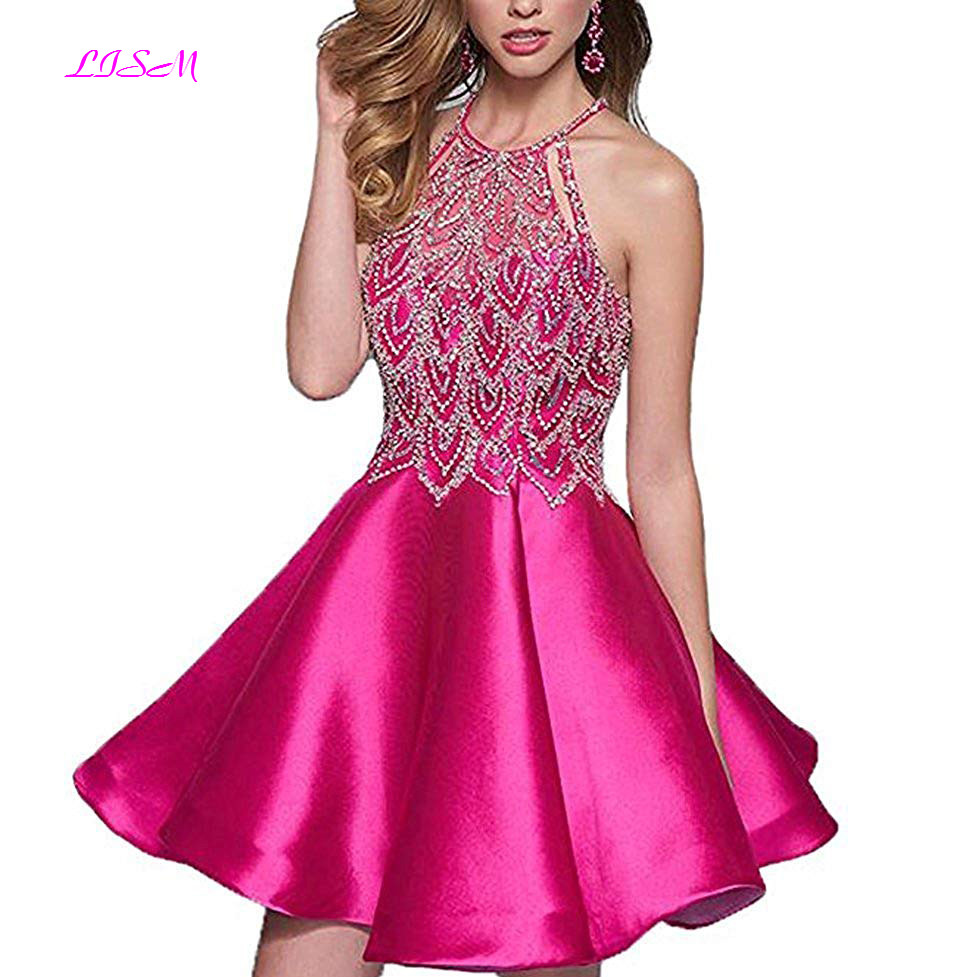 Halter Beaded Homecoming Party Dress Sexy Open Back Prom Ball Dress Short Prom Dresses 2019