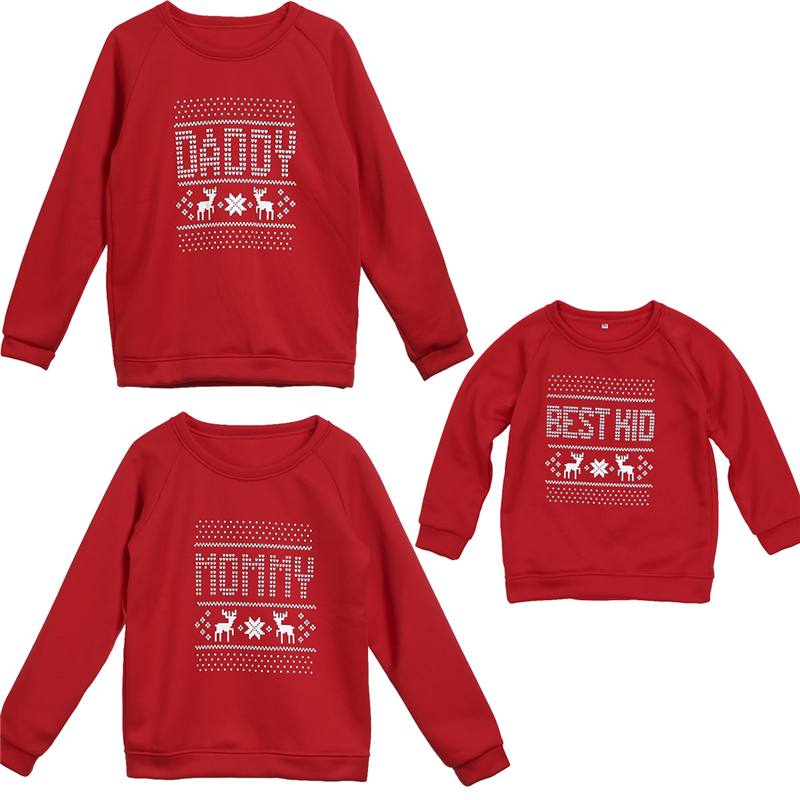 Family Look Christmas Letter Family Matching Outfits T Shirt Mother Daughter Long Sleeve Dad Mom Baby Family Matching Clothes 2018 mother daughter dresses family matching outfits long sleeve family look matching clothes mom and daughter dress