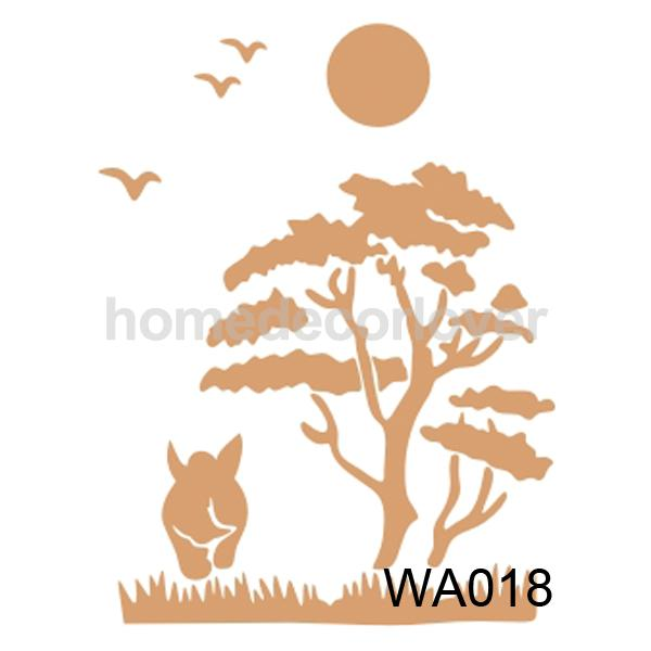 Rustic Tree Bird Pattern Wall Painting Stencil Home Art Decor In Stickers From Garden On Aliexpress