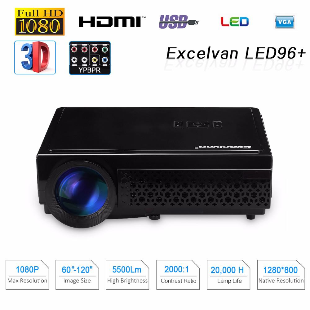 Excelvan Cl720 Full Hd Home Theater Projector 3000 Lumen: Excelvan LED96+ 5500Lumens Long Life LED Full HD LED Home